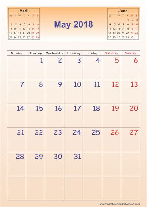 may 2018 calendar template portrait printable 2017