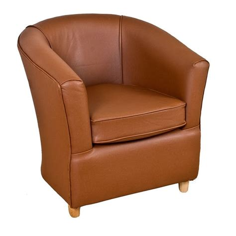 leather tub chair brown