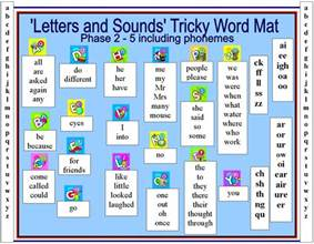 tricky word mat word mat with letters and sounds tricky