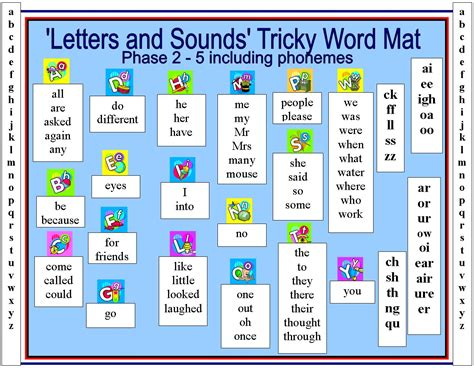 5 Letter Words Phonics tricky word mat word mat with letters and sounds tricky