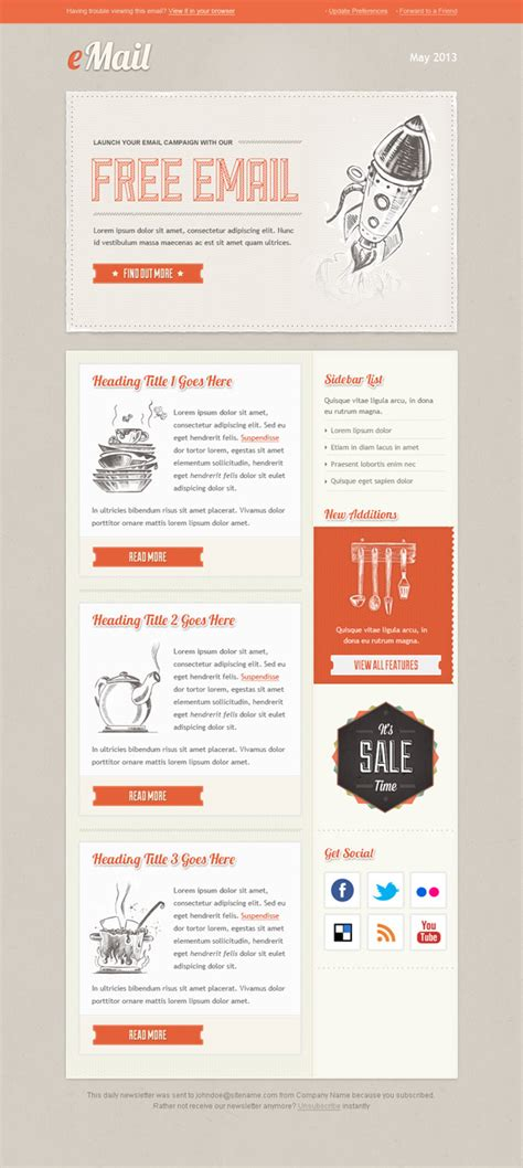 Vintage Email Template Free Mail Templates Mail Newsletter Template
