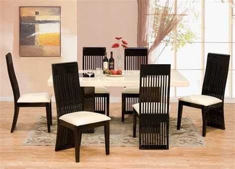 lacquer dining room sets 7 pcs modern italian marble w black lacquer chairs dining