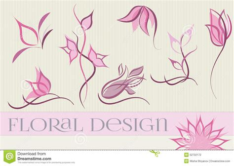 Set Pink Flowery set of flower logo designs stock illustration image