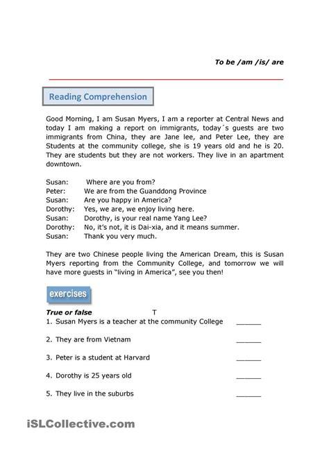 preguntas de comprension en ingles comprensi 243 n de lectura verbo ser english pinterest
