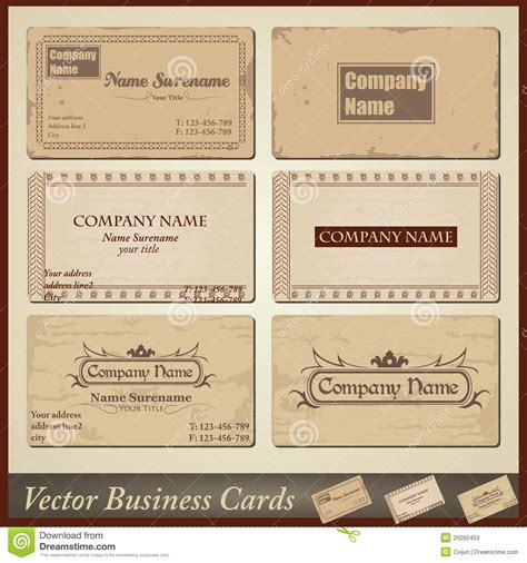 vintage business cards templates free vector style retro vintage business cards stock vector