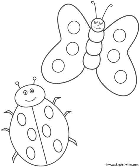 coloring pictures of butterflies and ladybugs ladybug and butterfly coloring page insects