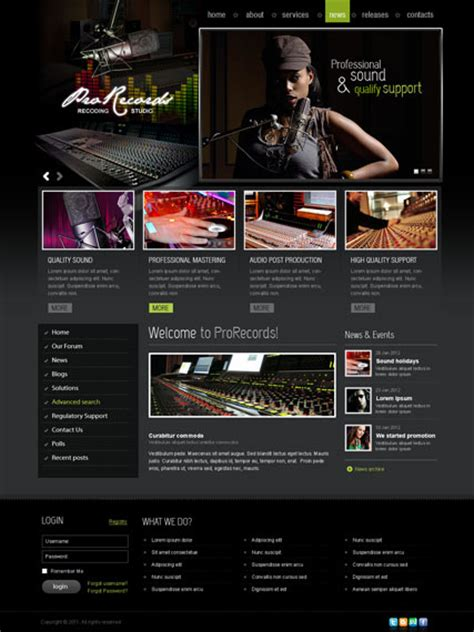 Sound Studio Joomla Template 111317 Simple Templates Studio Website Template
