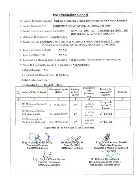 tender evaluation report template shaheed mohtarma benazir bhutto