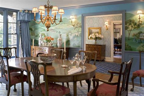 Pictures Of Formal Dining Rooms Formal Dining Room With Murals Traditional Dining Room Philadelphia By Meadowbank Designs