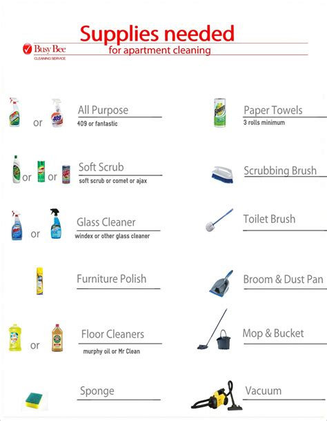 cleaning supplies checklist apartment cleaning supplies list