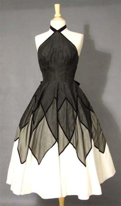 Black And White Vintage Dress knockout neiman black ivory organdy halter cocktail dress vintageous vintage clothing