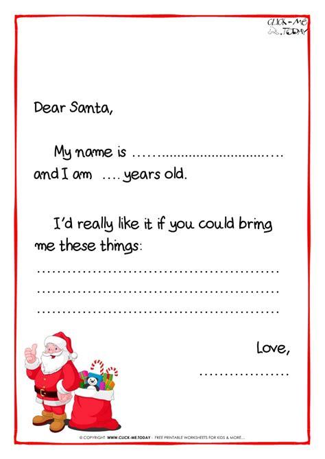 letter to santa template printable exle santa claus letter black white 1449