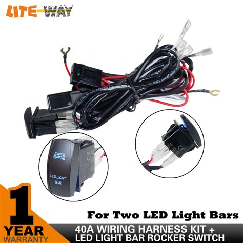 12v led light bar wiring harness 40 relay fuse on