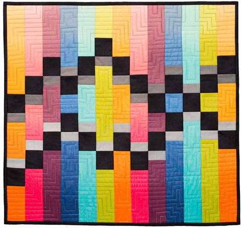 Modern Quilt Wall Hanging by Merging Traffic Geometric Quilt Pattern Quilts By Jen