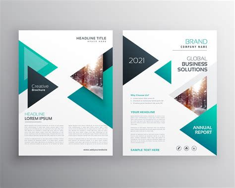 booklet brochure template geoemtric triangles business flyer brochure vector