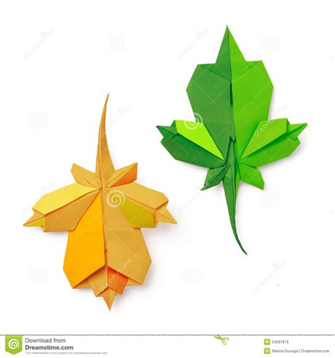 Origami With Leaf Paper - origami leaves royalty free stock image image 34097876