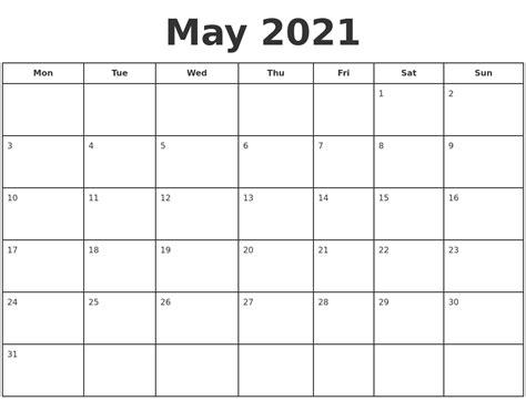 printable calendar starting monday may 2021 print a calendar