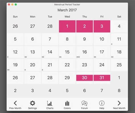 Menstrual Cycle And Ovulation Calendar Menstrual Period Tracker And Ovulation Calendar Mac