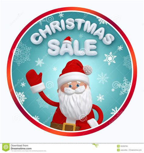 christmas sale round banner with santa claus stock images