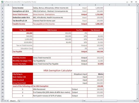Tax Return Spreadsheet by Tax Return Calculator 2012 Tax Calculator 2012