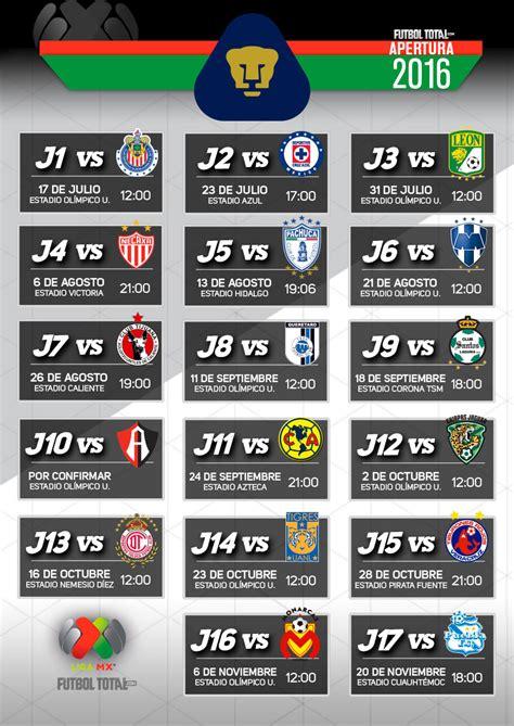Calendario Liga Mx 2016 Pumas Calendario Pumas 2016 Calendar Template 2018
