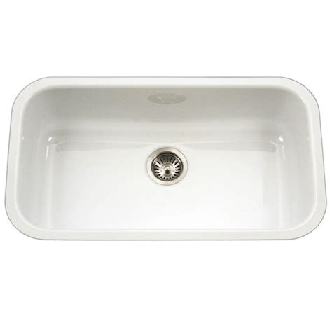 White Sinks Kitchen Houzer Porcela Series Undermount Porcelain Enamel Steel 31 In Large Single Bowl Kitchen Sink In