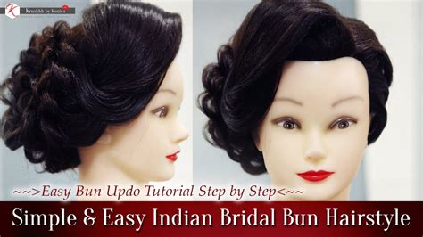 Bridal Bun Hairstyles Step By Step by Simple Easy Indian Bridal Bun Hairstyles Step By Step