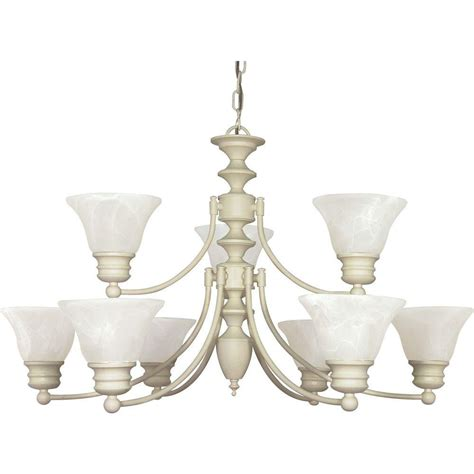 Home Depot Chandelier Shades Glomar 9 Light Textured White Chandelier With Alabaster Glass Bell Shades Hd 363 The Home Depot