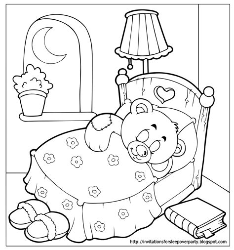 Sleepover Coloring Pages invitations for sleepover