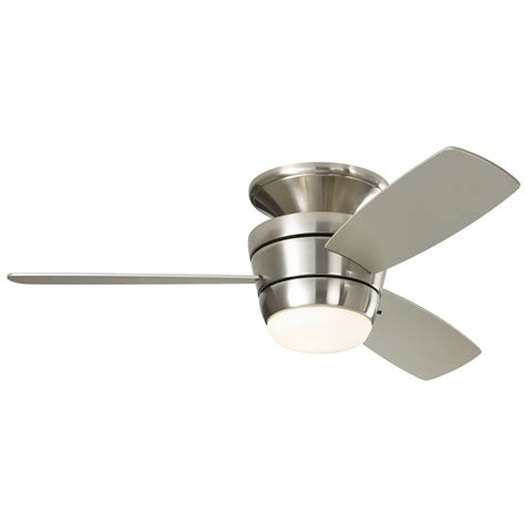 Indoor Ceiling Light Shop Harbor Mazon 44 In Brushed Nickel Flush Mount Indoor Ceiling Fan With Light Kit And