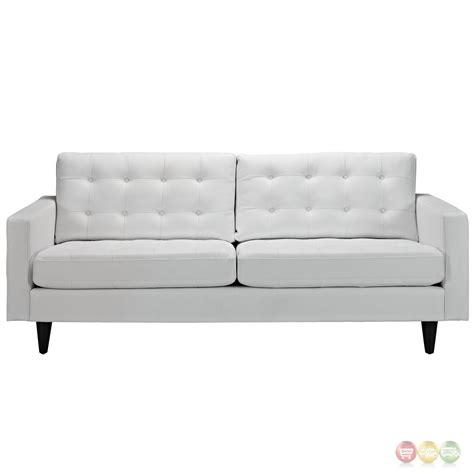 Empress Contemporary Button Tufted Leather Sofa White White Tufted Sofa