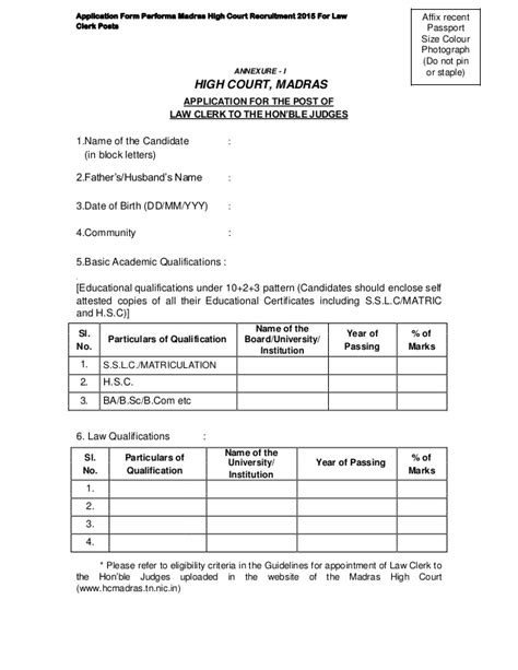 Application For Mba In Madras 2015 by Application Form Performa Madras High Court Recruitment