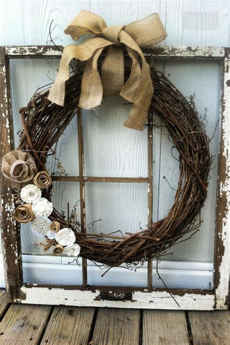 decorating ideas for wire wreaths frames diy crafts ideas window frame from junk yard hobby lobby wreath glue and burlap