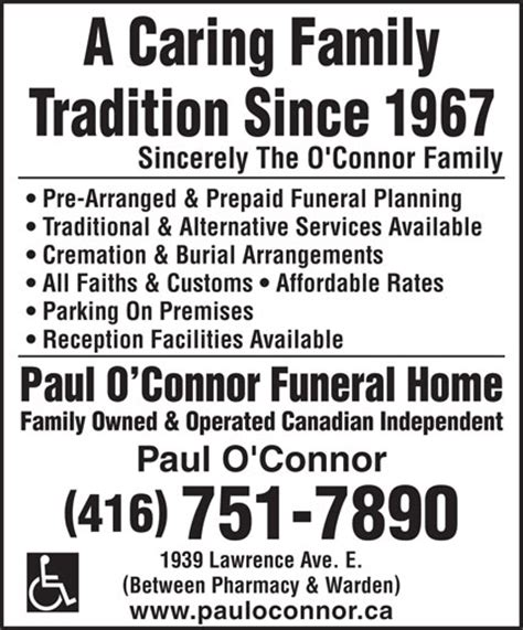 paul o connor funeral home ltd scarborough on 1939