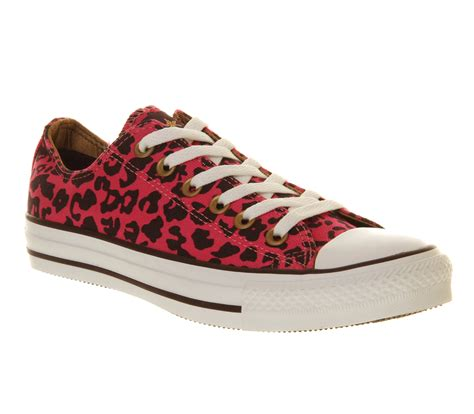 converse all ox low cheetah pink trainers shoes ebay