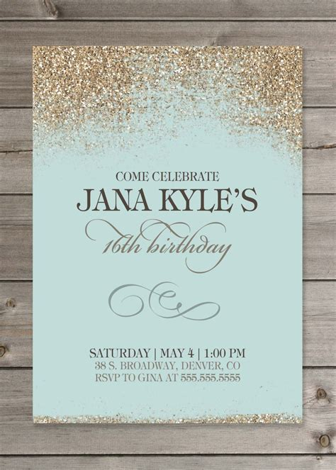 printable birthday invitations for 15 year olds 16 year old birthday invitations printable sweet 16