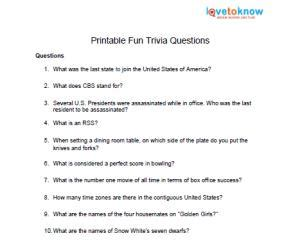 trivia questions and answers printable