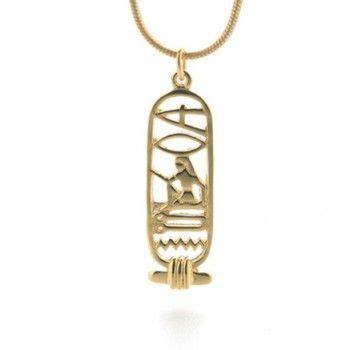 rosetta stone necklace i love you egyptian cartouche gold finish necklace