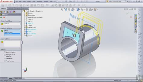 solidworks tutorial glasses how to mirror a feature in solidworks learnsolidworks com