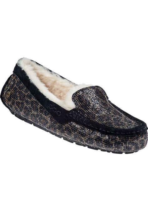 leopard slippers ugg ansley leopard print suede slippers lyst
