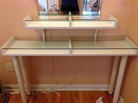 Glass Makeup Vanity Table Furniture Glass Top Makeup Vanity With Small Square Spinning Mirror Ikea Magnificent Glass
