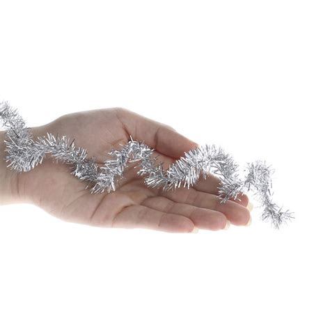 silver wired tinsel garland christmas garlands