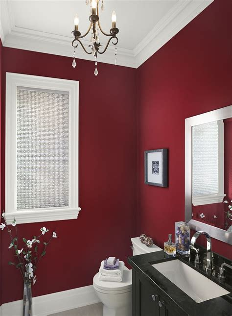 red accent bathroom strikingly rich red bathroom caliente af 290 walls