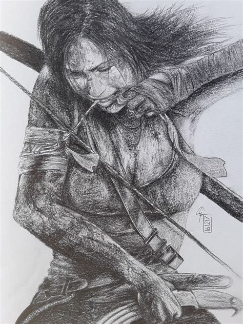 tomb raider drawing pencil sketch colorful realistic