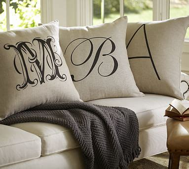 pottery barn bed pillows monogrammed embroidered throws and pillows pottery barn
