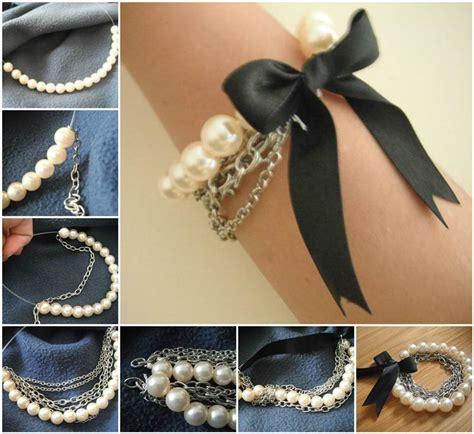 creative ideas diy and ribbon creative ideas diy chained pearl ribbon bow bracelet icreativeideas
