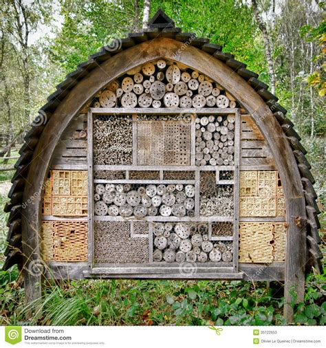 Gardeners Supply Bee House Bee And Insect Nesting Box Tree House Complex Stock Photos