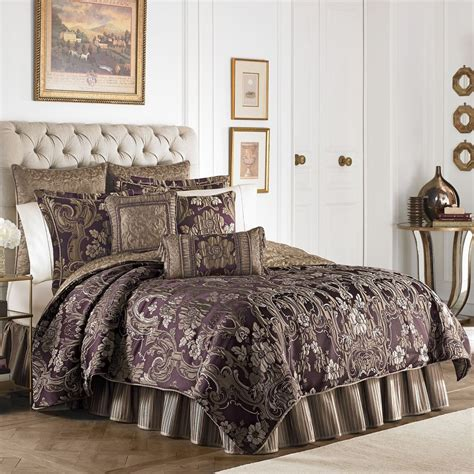 purple and gold comforter sets king croscill everly plum 4pc queen comforter shams bedskirt