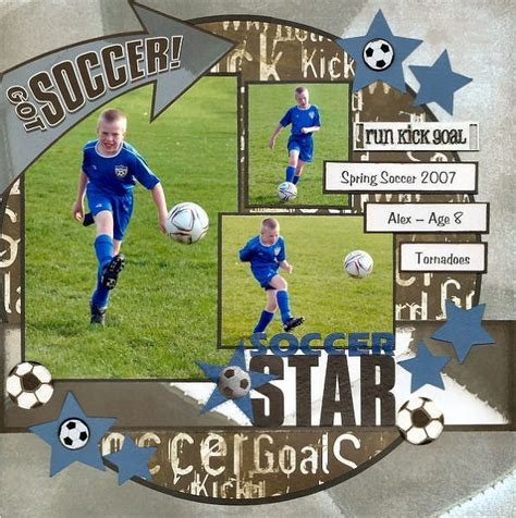 scrapbook layout soccer soccer star scrappin scrapbook layouts cards pinterest