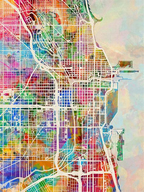 chicago neighborhood map with streets chicago city map digital by michael tompsett